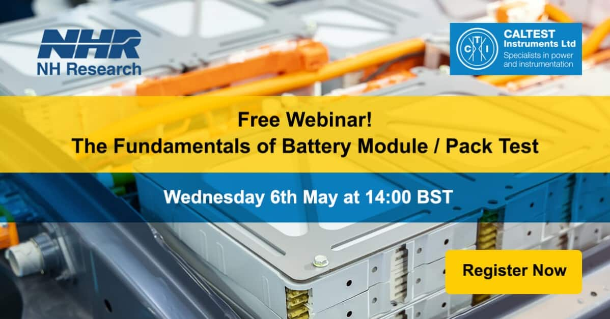 Free Webinar! Fundamentals of Battery Module/Pack Test