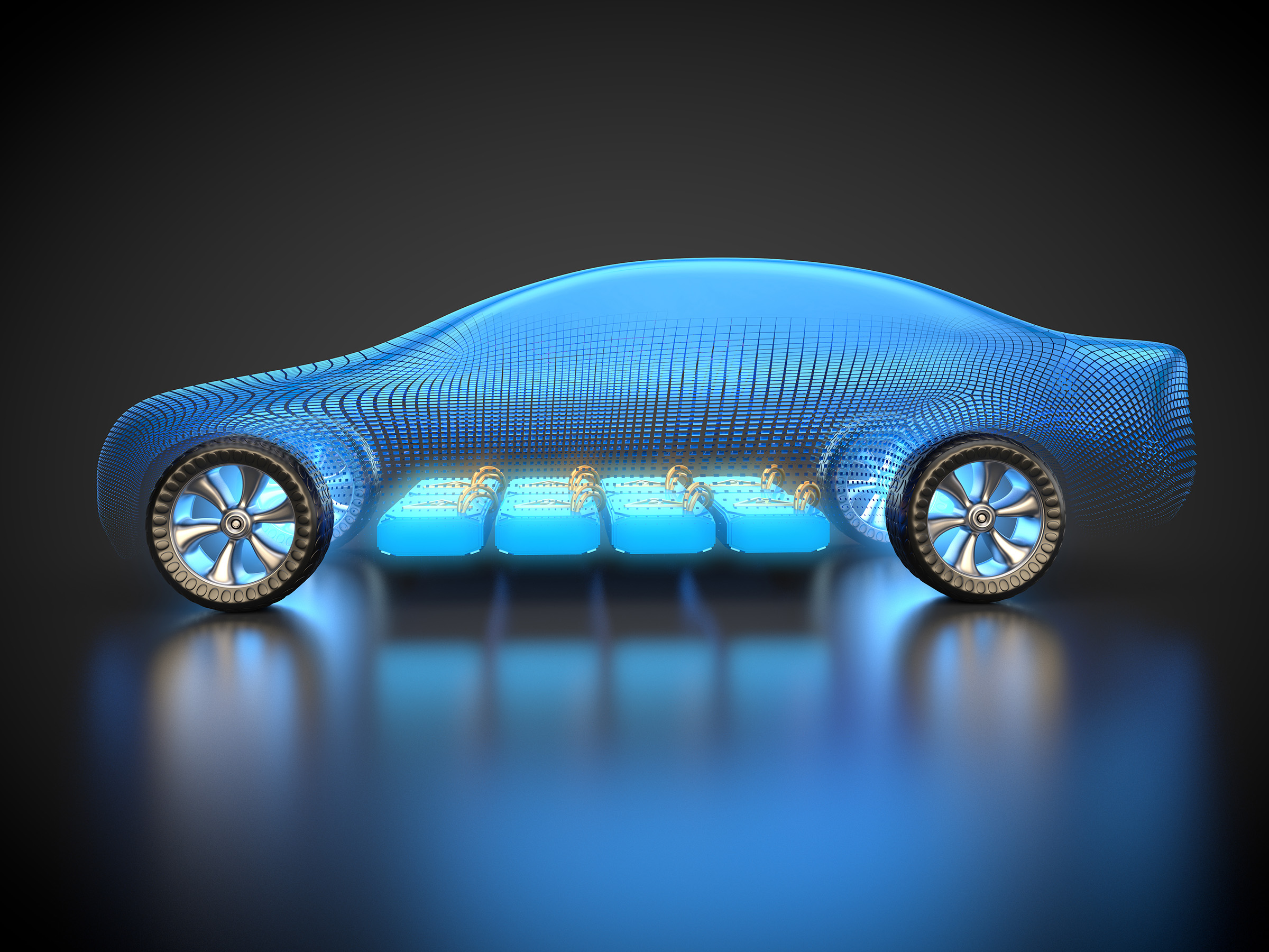 Electric vehicle battery conceptual view.